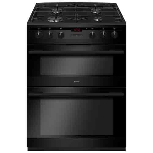 AFD6450BL 60cm freestanding electric double oven with gas hob