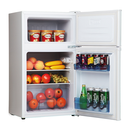 FD1714 48cm freestanding undercounter double door fridge freezer, white
