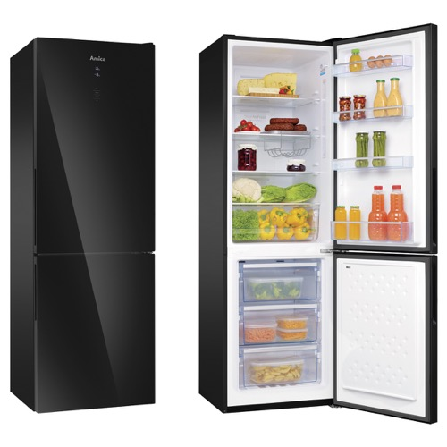 FK3216GBDF 60cm freestanding frost-free 70/30 fridge freezer, black glass